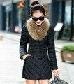 2017 Горячей продажи Вниз хлопка зимняя Куртка женская средней длины тонкий съемный большой искусственного меха воротник утолщение моды Пальто