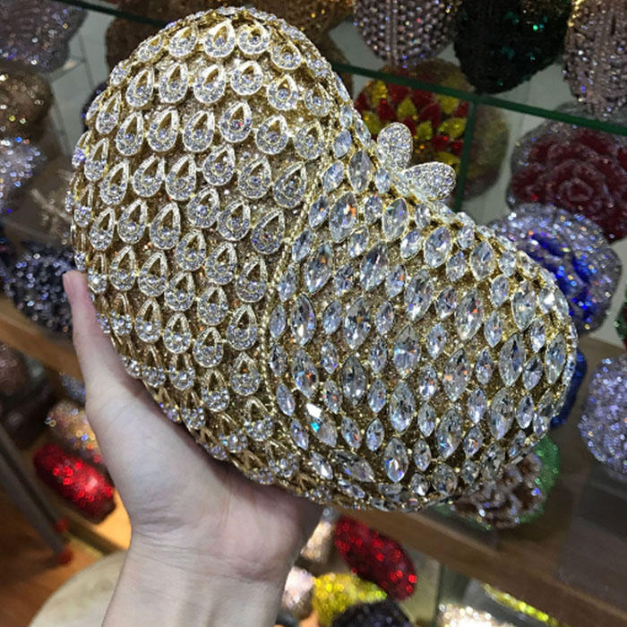 Golden Crystal Evening Clutches Bag For Women Hollow Out Handbag and Purse Bridal Rhinestones Clutch Wedding Box Clutch wallet