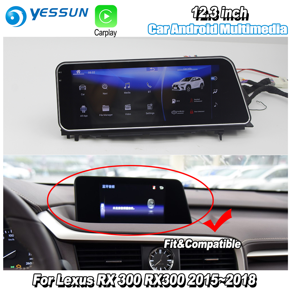 YESSUN 12.3 For Lexus RX 300 RX300 2015~2018 Car Android Carplay GPS Navi maps Navigation Player Radio Stereo WiFi no DVD yessun for lexus al20 rx 300 rx 200t rx 450h 2015 2018 car android carplay gps navi maps navigation player radio stereo no dvd