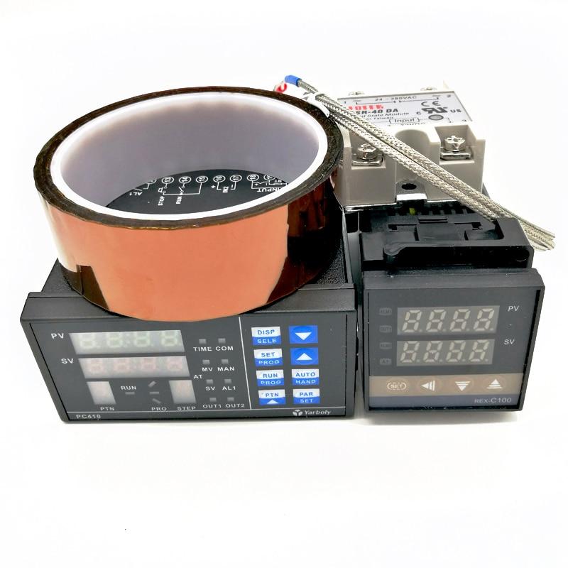 Thermostat de panneau régulateur de température PID réglable numérique PC410 + REX-C100 + Max.40A SSR relais + K sonde Thermocouple + bande