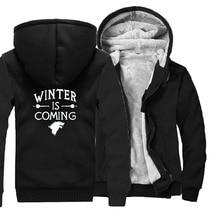 streetwear sweatshirt men wool liner coats 2019 winter is coming thicken jackets Game of thrones hipster hoodies mans brand top