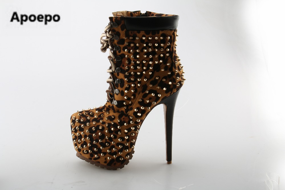 Apoepo Women Sexy Design Round Toe Lace-up Leopard Leather Spike High Platform Ankle Boots High Heel Rivet Boots Brand Shoes