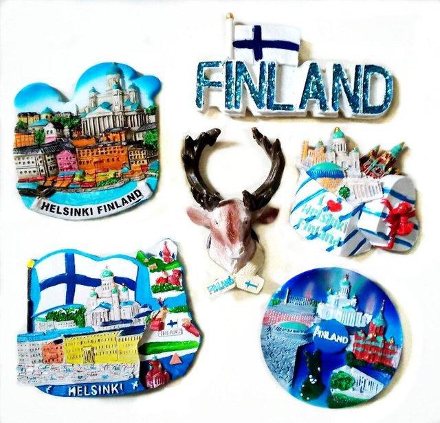 Caja de regalo de Helsinki Finland alce imanes de nevera de alta calidad recuerdos de turismo refrigerador pegatinas magnéticas decoración del hogar