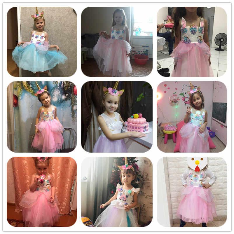 Vestido de Anna Elsa para niñas unicornio traje de Carnaval de niños vestidos para niña vestido de fiesta de cumpleaños vestido de princesa de la Reina de la nieve de los niños