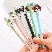 6 pcs Kawaii dog family gel pen  0.5mm Black color ink pens Cartoon kids gifts  Office School supplies Canetas escolar FB367 цена