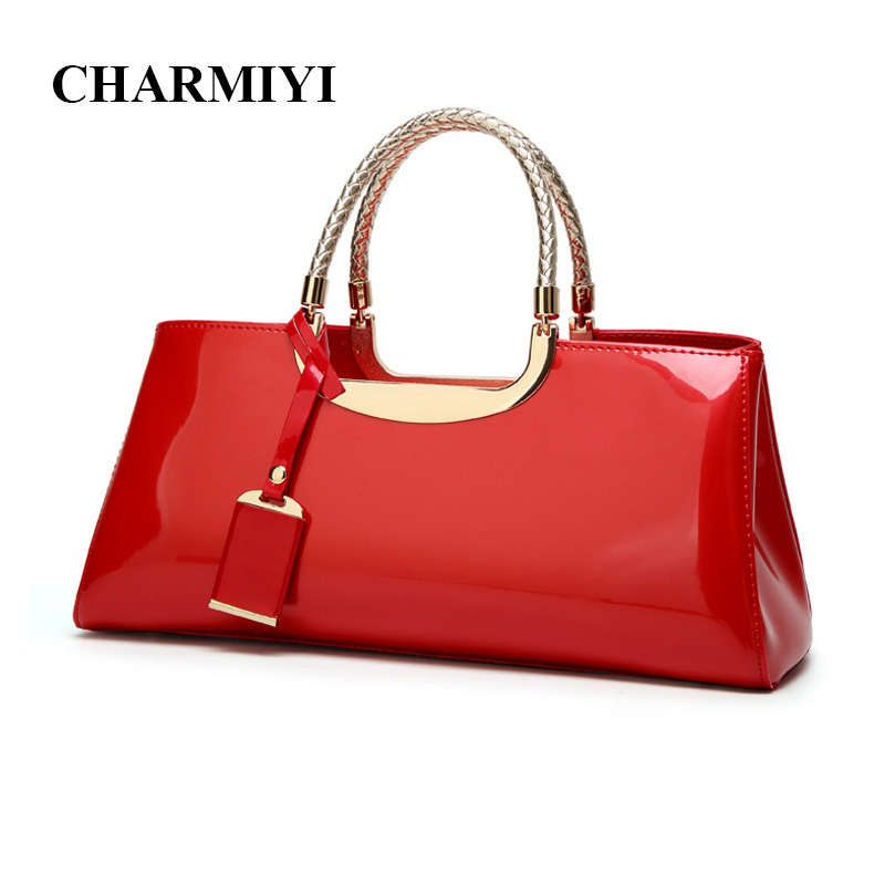CHARMIYI 2017 Fashion Patent leather Women Handbags Designer Candy color Female Tote Bags High Quality Women Hand bag Shoulder