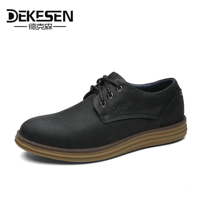 DEKESEN Brand Vintage Classic 100% Genuine Leather Luxury Oxfords 2017 Men Shoes Fashion Stripe Mens Shoes Casual Designer Brown dekesen brand vintage classic 100