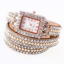 Brand Luxury Watches Women Chain Bracelet Watch Rhinestone Dress Female Leather Quartz Wristwatches 2017 Free Shipping TEMPTER