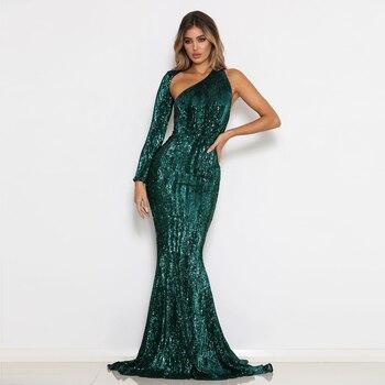 Vestido verde de manga larga, con lentejuelas, sexi, ceñido al cuerpo, con un hombro, Vestido largo de sirena