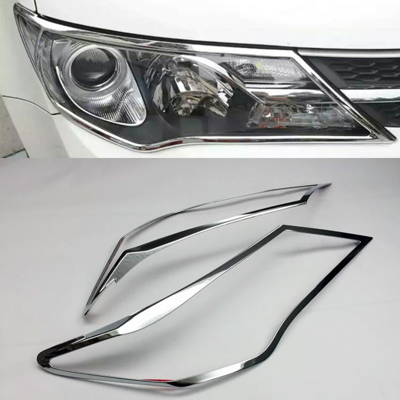 Accessories For Toyota RAV4 RAV 4 2013 2014 2015 ABS Chrome Front Head Light Lamps Covers Trim Headlight Decoration Hood 2pcs цена 2017