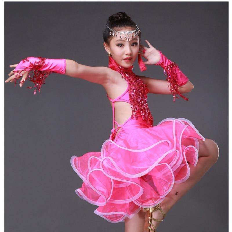 Lace Sequin Girls Kids Ballroom Dresses Tango salsa fringe sequin dress Newest Sexy Latin Dance Children fringed tassel