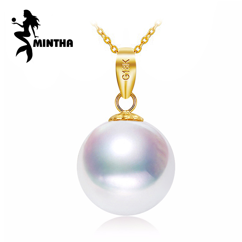 MINTHA 18K Yellow Gold peandant pearl Jewelry antlers necklaces & pendant for lovers pearl pendants send s925 silver necklaces