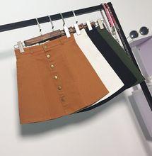 Yovamoo Summer Denim Skirts Women Vintage High Waist Front Button All-match Short A-line Skirt Solid Color American Style artka women s autumn new vintage plaid a line all match comfy short skirt qa10058q