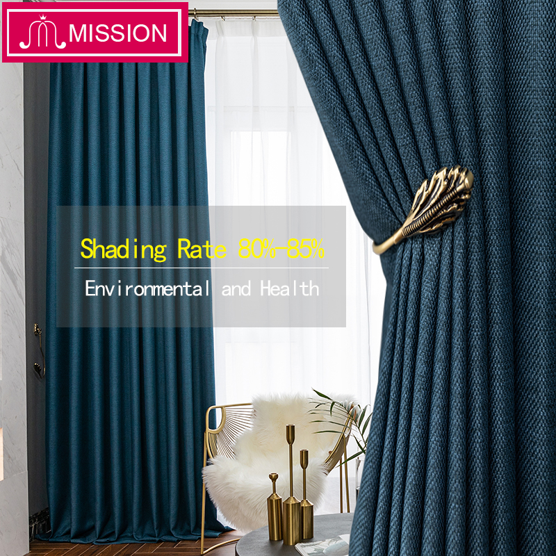 MISSION Faux Linen 80%-85% Shading Thick Thermal Insulated Blackout Curtains Blinds For Bedroom Living Room Drapes Custom Made
