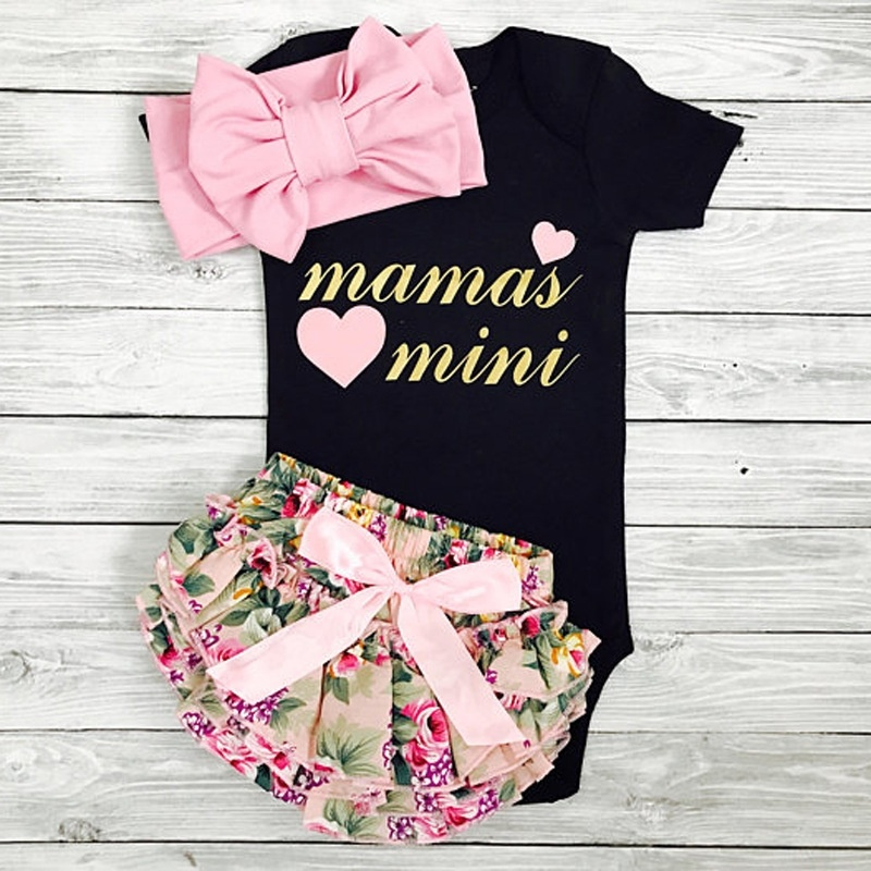 0 24 Months Mamas Mini 3PCS Baby Girls Suit Clothes Black Romper Floral Shorts with Headband in Clothing Sets from Mother Kids