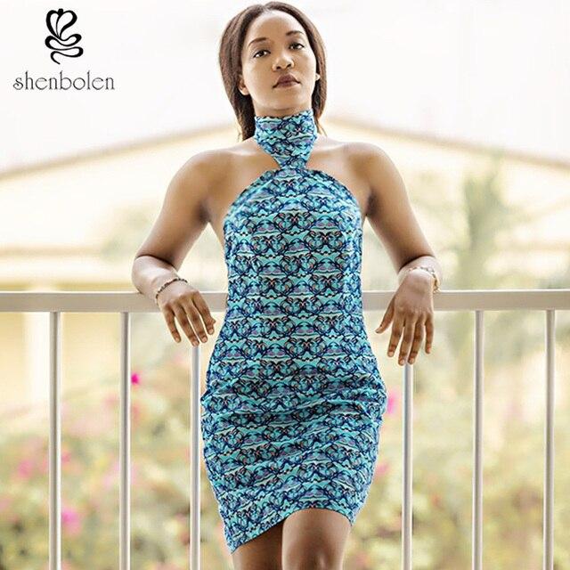 2017 summer africa dress of womens African printed 100% cotton wax batik  fabric turtleneck dresses sexy backless sheath bc784c3733
