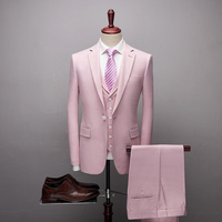 2019 Fashion New High quality Mens Pink suits Formal 3 Pieces Wedding Groom Tuxedos Prom Slim Fit Notched lapel Suits2019 Fashio