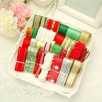 25 YDS Mixed 25 Style Christmas Satin Grosgrain Rib Knitting Ribbon Set Diy Handmade Bow Gift