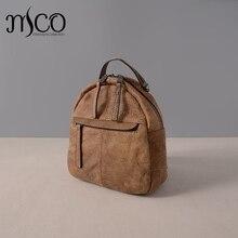Новые поступления Натуральная кожа рюкзак школьные сумки для девочек Винтаж кожа коровы маленький рюкзак Mochila женский рюкзак