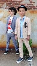2016 Hot Sale Cheap Blue Beige Kids Tuxedo Suits (Jacket+ Pants ) 2 Bottons Boys Wedding Suits Cute Formal Occasion Clothing