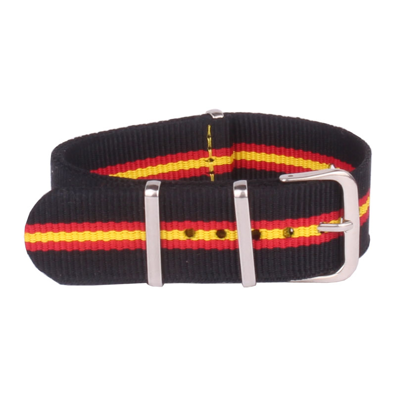 22mm Black/Red/Yellow Cambo Watchbands Wholesale Bracelet Military Watch Army Nato Fabric Nylon Strap Bands Buckle Belt 22 Mm