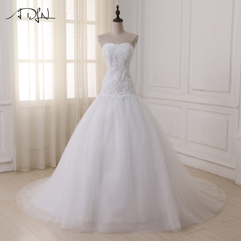 ADLN Elegant Tulle Wedding Dresses In Stock Sweetheart Lace Up Back Beaded Sequin Bridal Gowns Vestido De Noiva Plus Size-in Wedding Dresses from Weddings & Events    1