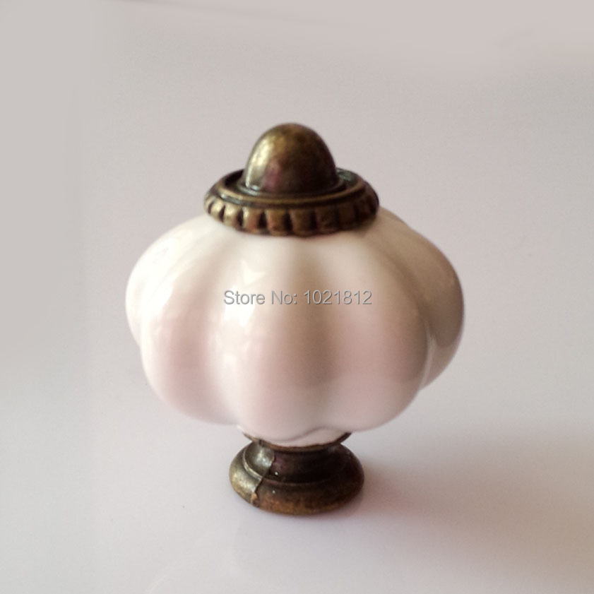 kitchen cabinet door knobs and pulls 5pcs 32mm white pumpkin ceramic cabinet knobs cabinet 18554