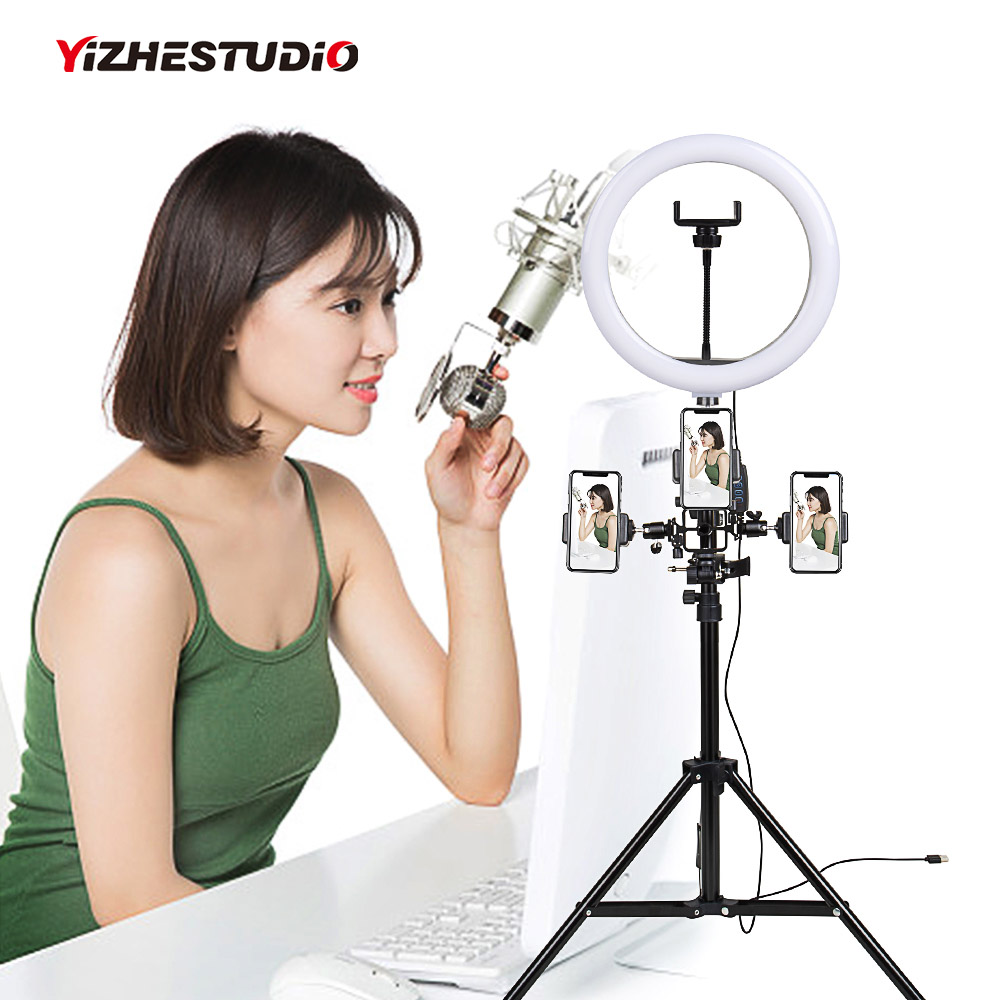 Yizhestudio Muti funcation 10in 26cm  LED Selfie Ring Light  Photography Video live Makeup Lamp with  Camera Phone holder|Photographic Lighting|   - AliExpress