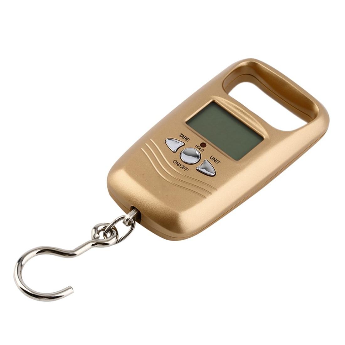 1 pcs Mini 50 kg LCD Numérique Hanging Bagages Pondération Échelle de Crochet de Pêche Électronique de Poche Portable Échelle Or Couleur