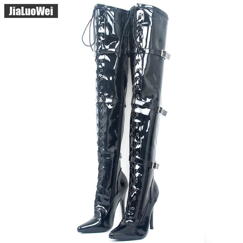 JIALUOWEI Over-the-Knee Pointed Toe Patent Thigh Long Boots 12CM Thin Heel Lace-Up Boots- Exotic,Fetish,Sexy,Shoes Plus size jialuowei lace up buckles ballet boots 18cm 7 extreme high heel hoof fashion sexy fetish zip over knee thigh high long boots