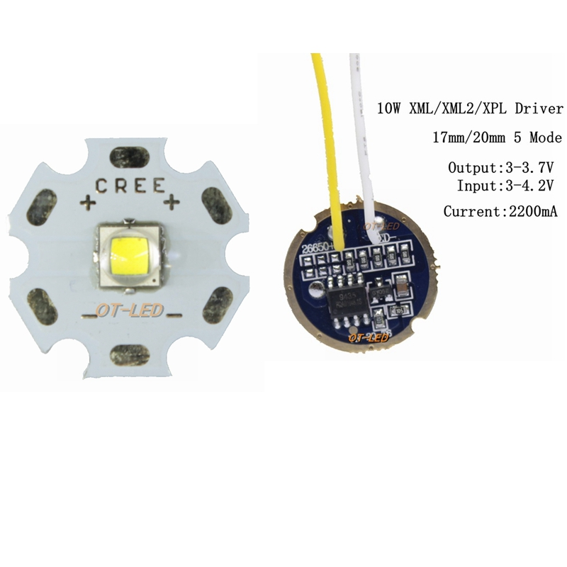 CREE XML2 <font><b>LED</b></font> XM-L2 T6 U2 <font><b>10W</b></font> WHITE Neutral White Warm White <font><b>LED</b></font> Emitter chip <font><b>20MM</b></font> Aluminum PCB+Input 3.7V 17mm/<font><b>20mm</b></font> <font><b>LED</b></font> <font><b>driver</b></font> image