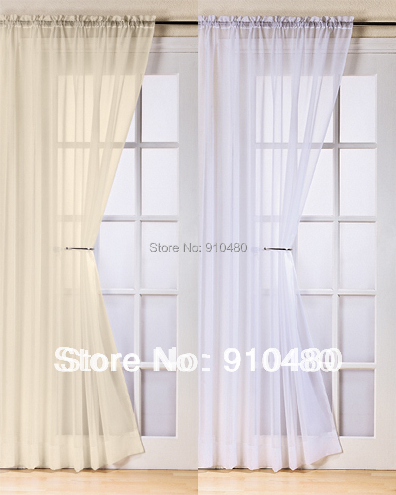 Slot Top Voile Curtain Panel White Cream All Colors Net Curtains Rod Pocket Drapery In From Home Garden On