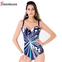 2018 New Style One Piece Swimsuit Women Plus Size Swimwear Retro Vintage Bathing Suits Beachwear Padded