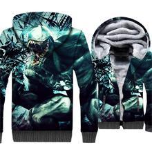 3D Printed Venom Hoodies For Men Streetwear Mens Hoodie Jacket Winter Thick Sweatshirt Anime Coat Zipper The Avengers Tracksuit