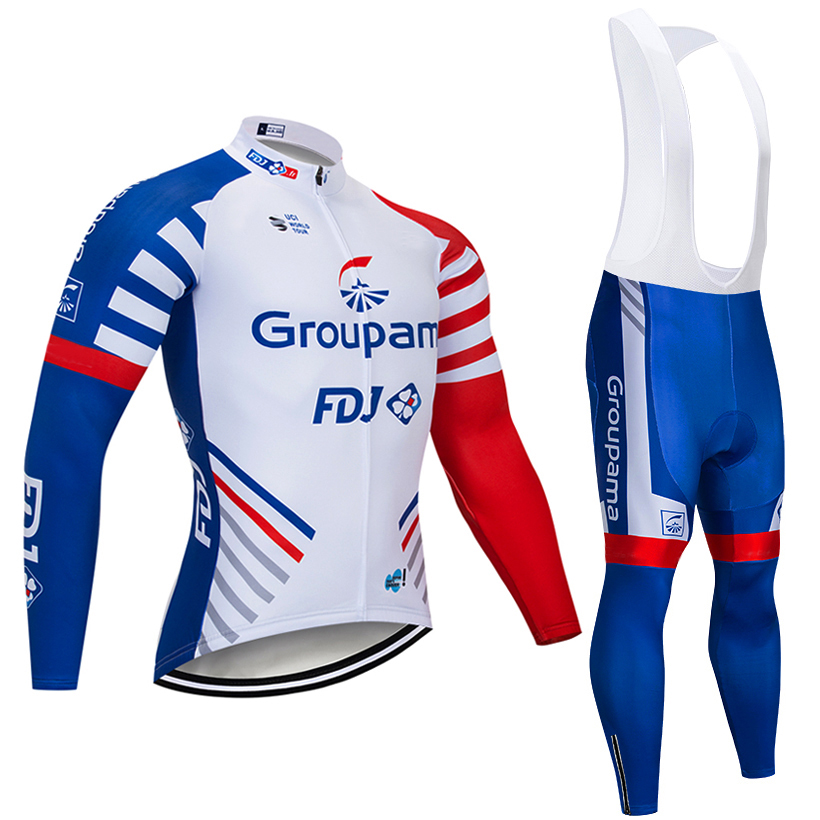 2018 GROUPFDJ long sleeve cycling team jersey 9D gel pad bike pants suit MTB Ropa Ciclismo pro bicycling Maillot Culotte wear
