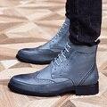 Hot 2016 Hombres de La Manera Zapatos Botines del Otoño del Resorte Hombres Brogue Zapatos Cómodos Ocasionales de Los Hombres Masculinos Botas Martin Size38-43 Plus
