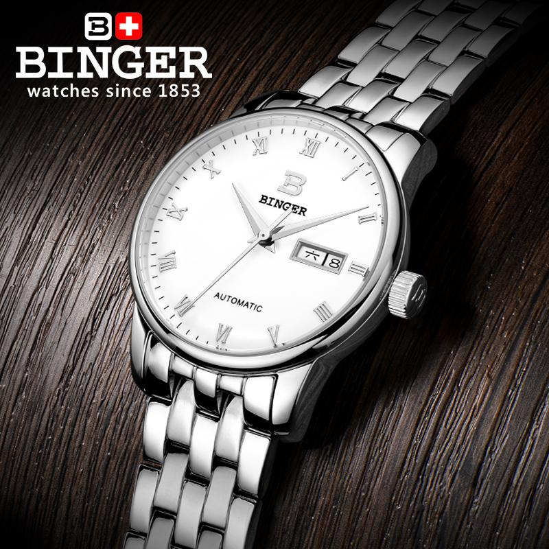 Switzerland watches men luxury brand Wristwatches BINGER business Mechanical Wristwatches full stainless steel Water Resistance weide brand watches business for men analog digital watches wristwatches 3atm water resistance steel clock black dial wh3403 page 7