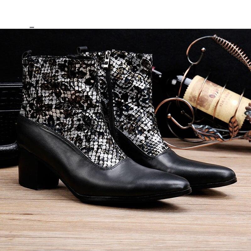 ntparker 6.8CM High Heels Botas para hombres botas militares negras - Zapatos de hombre - foto 2