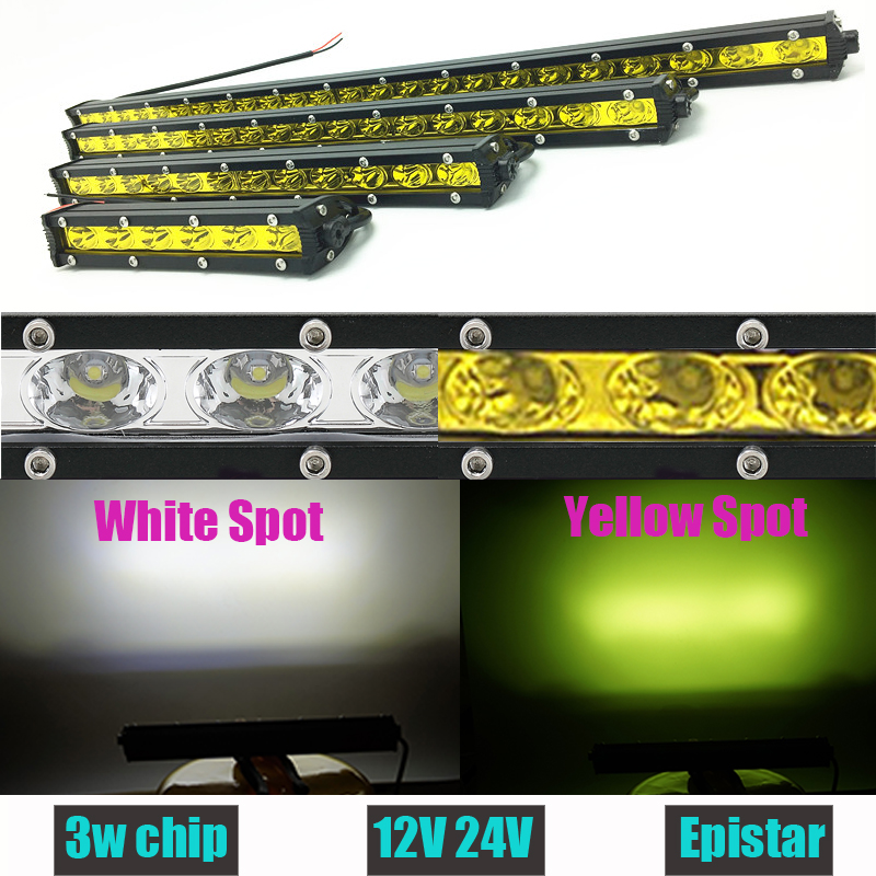 Weiß Gelb 18 Watt 36 Watt 54 Watt 72 Watt 90 Watt Led-lichtleiste Einreihig Offroad Work Fahrleuchte Spot Nebellampen Offroad Auto 12 V 24 V Barra