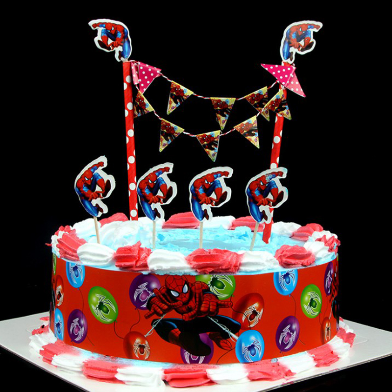1 Set Creative Spiderman Themes Paper Cake Accessories Happy Birthday Party Decor Topper Baby Shower Supplies