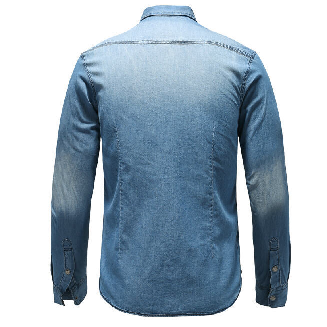 16320728ada Blue Denim Shirt Men 100% Cotton Breathable Long Sleeve Mens Denim Shirt  Slim Fit High Quality Plus Size Jeans Shirt A690-in Casual Shirts from Men s  ...