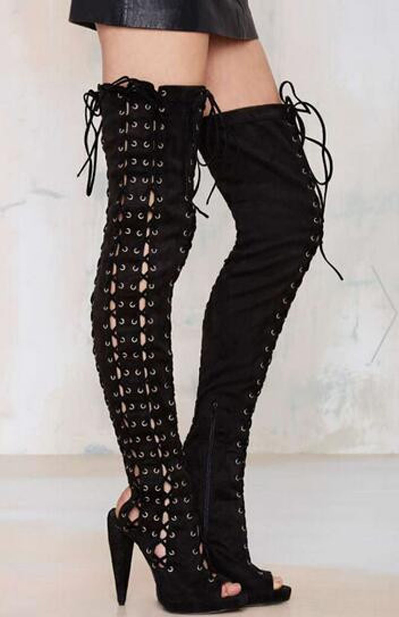 Hot Selling Women Fashion Open Toe Black Suede Leather Over Knee Spike Heel Boots Cut-out Lace-up Slim Long High Heel BootsHot Selling Women Fashion Open Toe Black Suede Leather Over Knee Spike Heel Boots Cut-out Lace-up Slim Long High Heel Boots