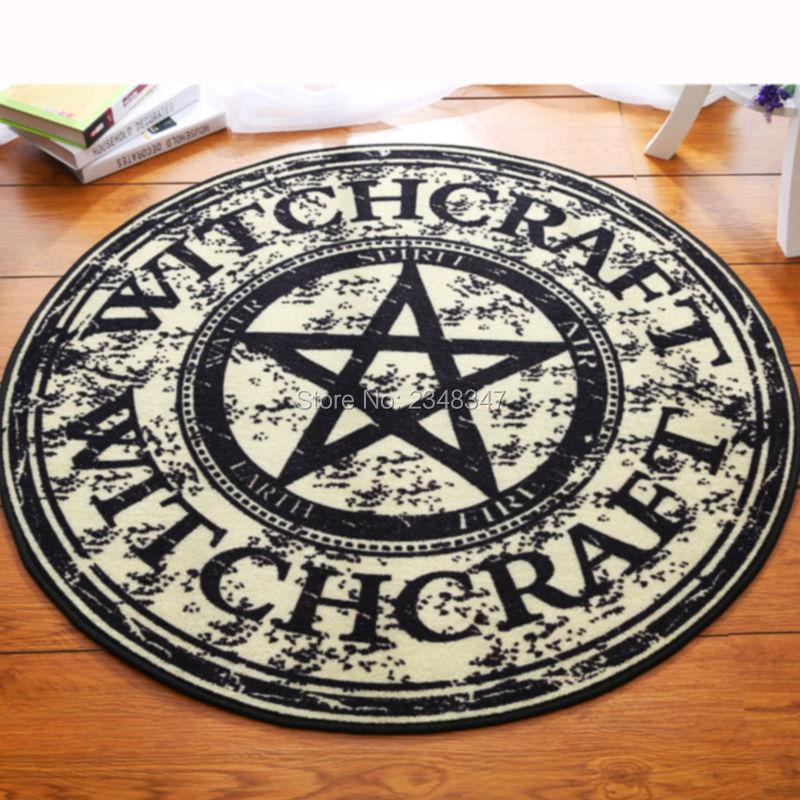 Mode Pentagram Zachte Flanel Voet Deur Yoga Stoel Speelkleed Badkamer Hal Tapijt Gebied Tapijt Ronde Woondecoratie Zwarte Ster