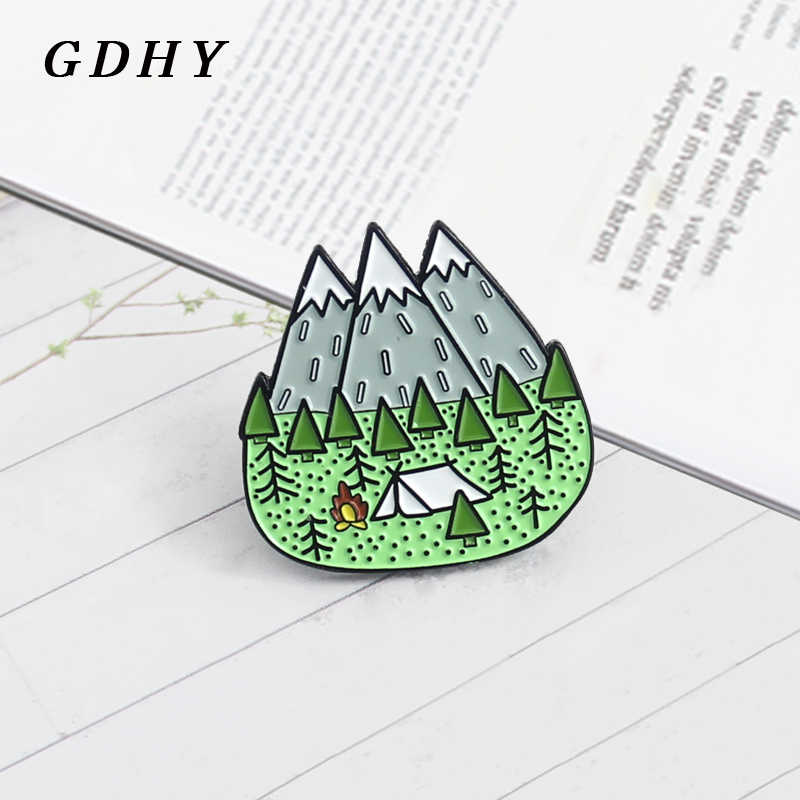 GDHY Mountains Wood Jungle Brooch Peak Nature Forest Camping Adventure Amateur Enamel Pin Badge Hat Backpack For Kid Jewelry