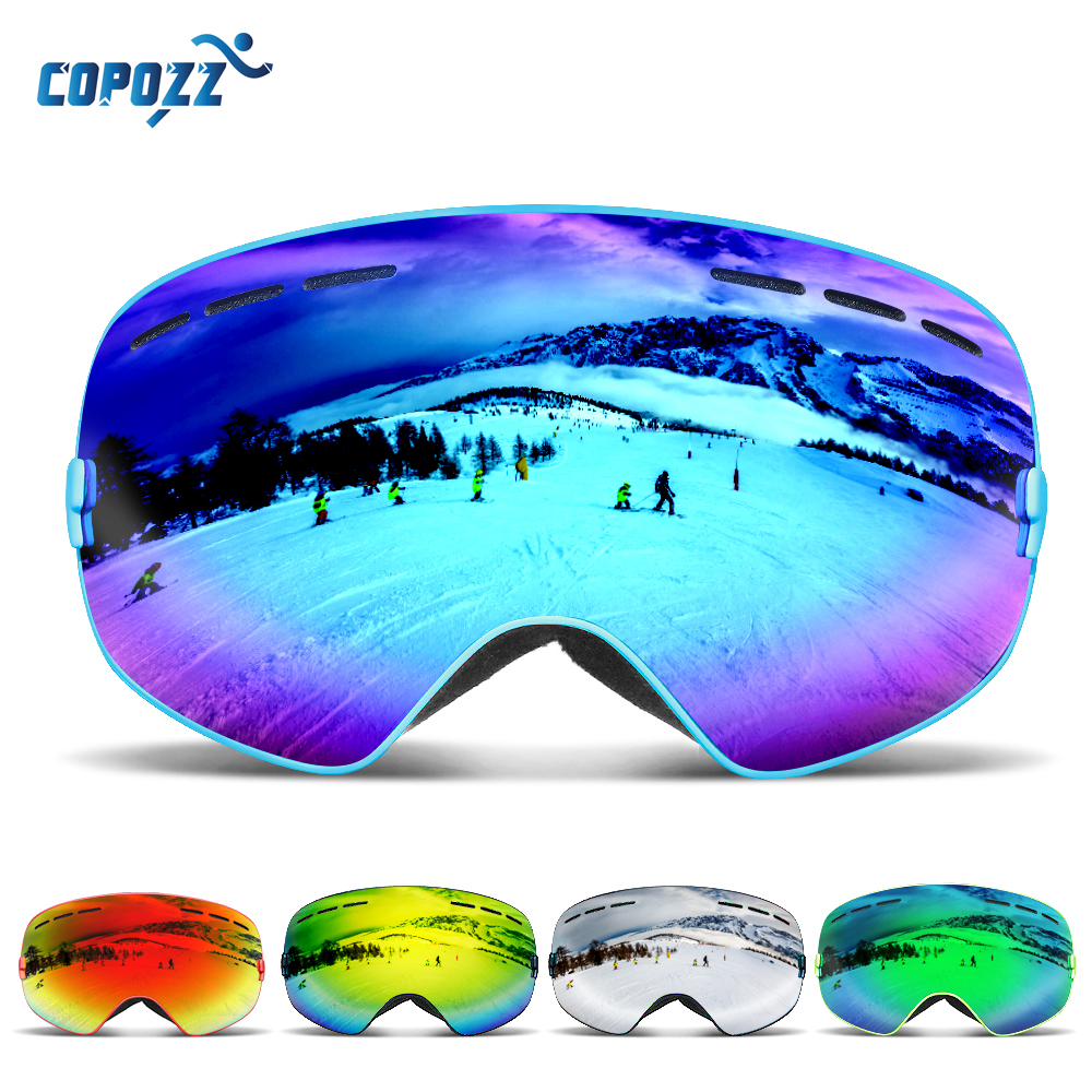 COPOZZ Brand Ski Goggles Men Women Snowboard Goggles Glasses for Skiing UV400 Protection Snow Skiing Glasses Anti-fog Ski Mask new 2018 uv400 anti fog ski goggles snowboard glasses ski snowmobile goggles snow ski mask sports goggles men skiing eyewear