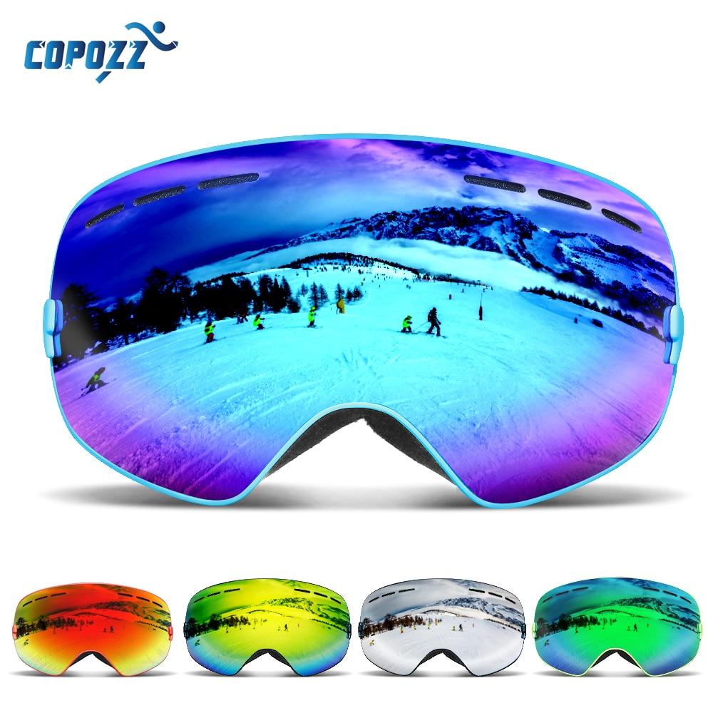 COPOZZ Marca Das Mulheres Dos Homens Snowboard Óculos De Esqui Óculos de  Proteção Óculos de Esqui UV400 Esqui Na Neve Óculos de Proteção Anti-nevoeiro  ... 074ecd62f1