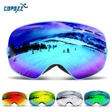 COPOZZ marka gogle narciarskie mężczyźni kobiety gogle snowboardowe okulary do jazdy na nartach ochrona UV400 narciarstwo śnieg okulary przeciwmgielne maska narciarska