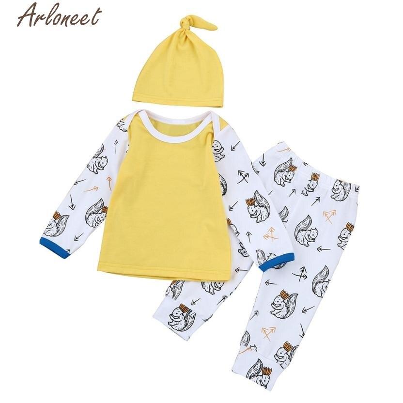 ARLONEET 2017 Baby Boy Clothes set Cartoon girl infant clothing T-shirt Tops+Pants+Hat Sets roupas de bebe menino l1207