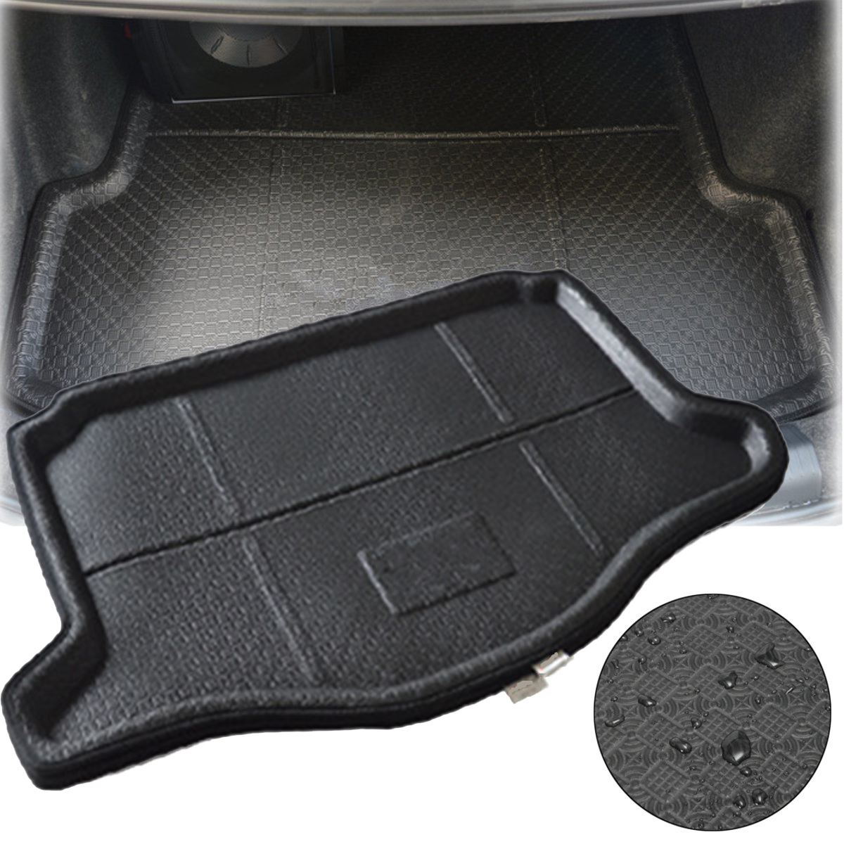 trunk boot cargo car rear mat waterproof liner tray for honda jazz fit 2014 2015 2016 in floor. Black Bedroom Furniture Sets. Home Design Ideas