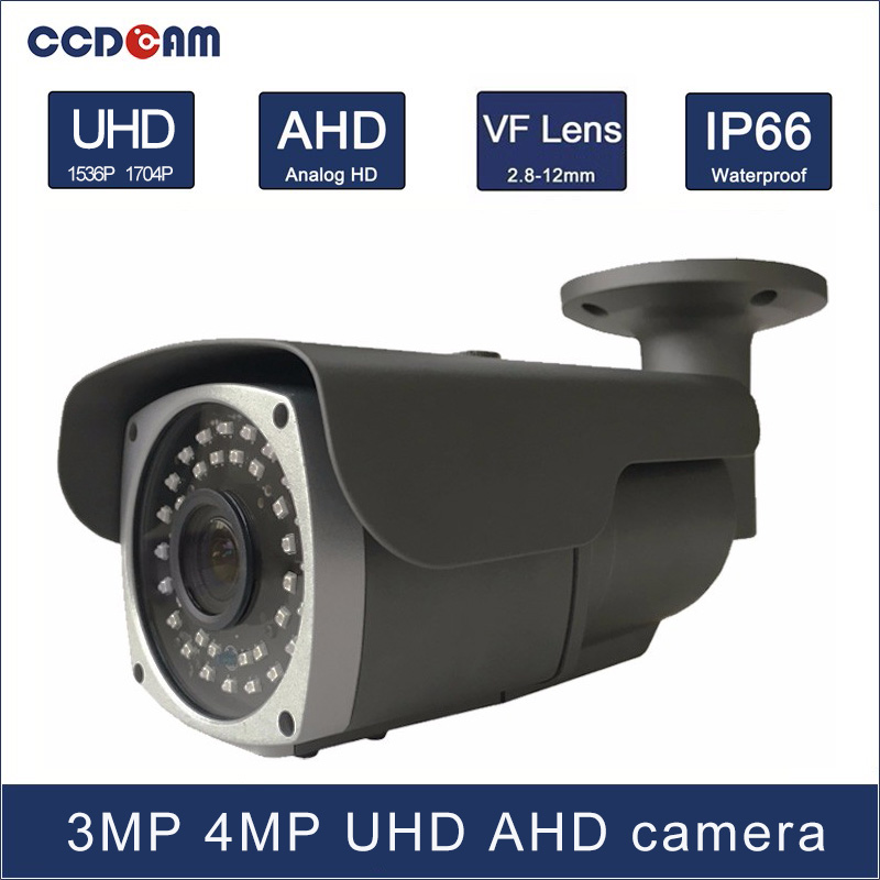 CCDCAM 3MP 4 MP high definition day and night vision AHD 2.8-12mm VF lens camera with 36 pcs micro Array IR leds 60m IR distance zоом 3 day white with acp excel 3